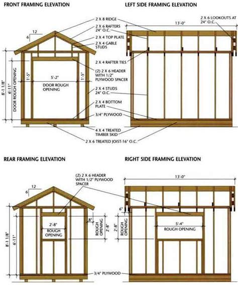8x8 deck plans free shed blueprints 8x12 framing elevation front and back a