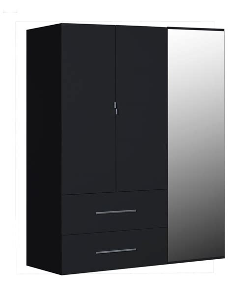 Black Wardrobe With Drawers by 3 Door Gloss Black Mirrored Wardrobe Fads
