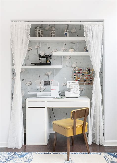 Before & After A Small Nook Becomes A Sewing Station. Kitchen Ladder. Music Room Ideas. Round Back Chair. Glass Door Refrigerator Home. Wolverine Painting. Kitchen Designers. Mirrors That Look Like Windows. Farm Tables