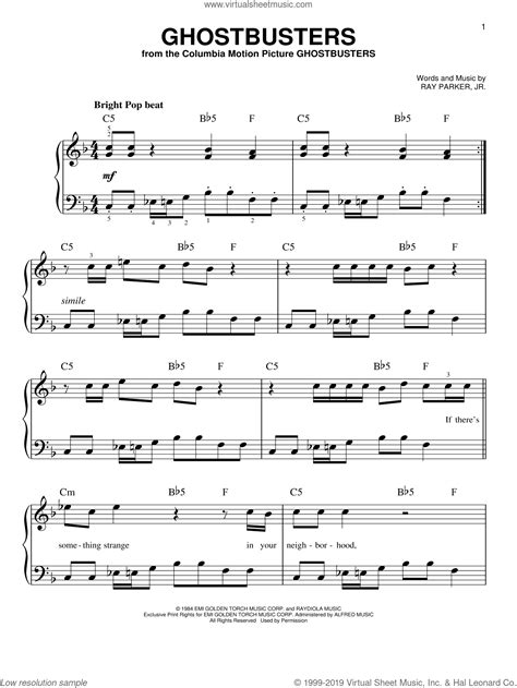 Download and print in pdf or midi free sheet music for song for guy easy piano arranged by nativemarc for piano (piano duo) Jr. - Ghostbusters sheet music for piano solo PDF-interactive