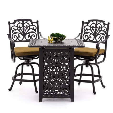 bar height patio table with fire pit evangeline 3 piece cast aluminum patio counter height bar