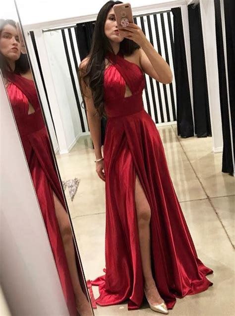 red prom dress  slitbackless prom dress  sweep