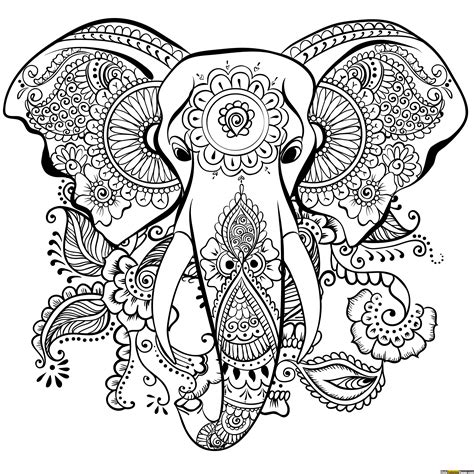 elephant mandala coloring  coloring pages