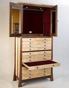 Custom Made Walnut And Curly Maple Jewelry Cabinet By