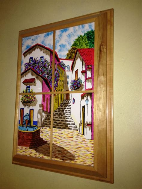 hand  custom framed hand painted mexican scene tiles