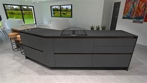 cuisine gris anthracite bois et cuivre avec ilot design With plan de travail cuisine gris anthracite