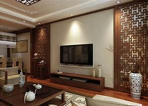 Interior design Chinese style woodcarving TV wall