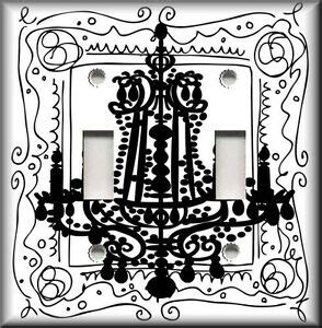 Black And White Chandelier Bedding by Light Switch Plate Cover Black And White Chandelier Home Decor