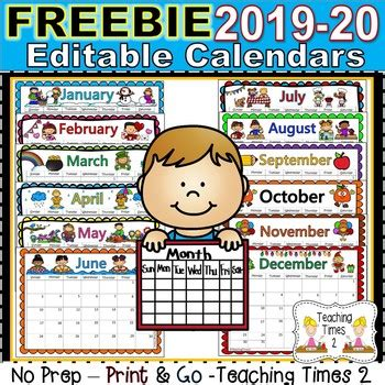 editable calendars teaching times tpt