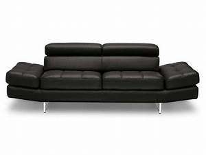 canape fixe 3 places en cuir leman coloris noir vente de With canapé cuir fixe 3 places