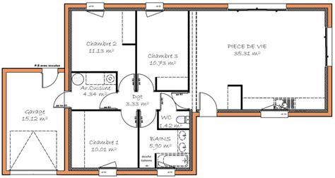 plan maison 3 chambre plain pied plan maison plain pied 3 chambre