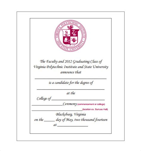 Graduation Announcements Templates Free by Sle Graduation Announcement Template 8 Free