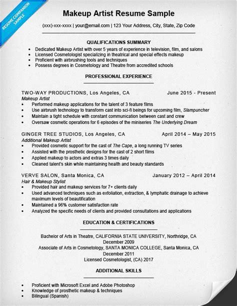Artist Resume by Makeup Artist Resume Sle Resume Companion