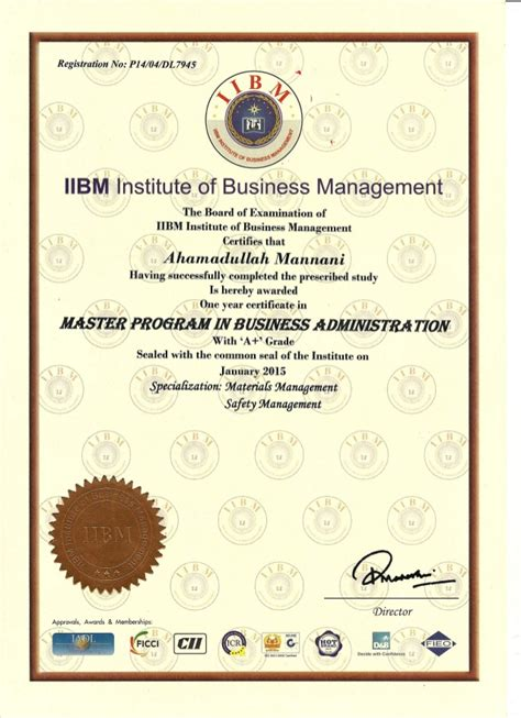 certificate business administration certificates