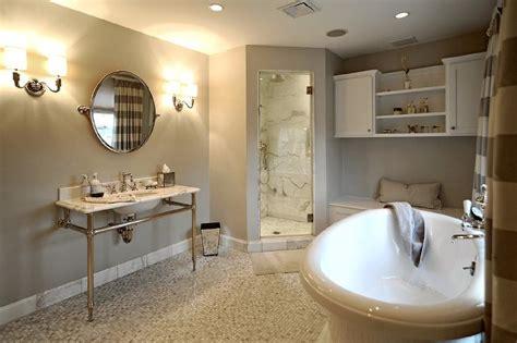 Gray Bathroom With Martha Stewart Seal Harbor Vanity In