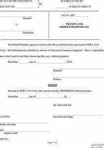 download south dakota motion and order for dismissal form With motion to dismiss with prejudice template