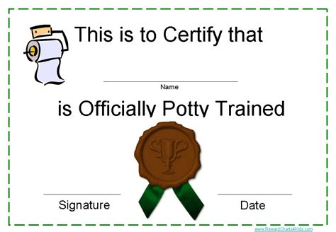 printable potty training award certificates instant