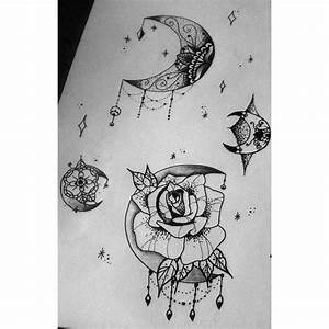 Lune Dessin Tatouage : mes 2 futurs tattoos la lune ornementale en haut et la rose lune en bas j 39 ai trop h te rdv le 8 ~ Melissatoandfro.com Idées de Décoration