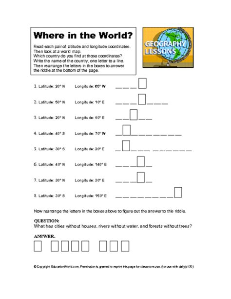 longitude latitude worksheet latitude longitude world geography lessons geography lessons