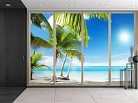 beach wall murals Large Wall Mural Palm Trees Beach Peel & Stick 3D Vinyl ...