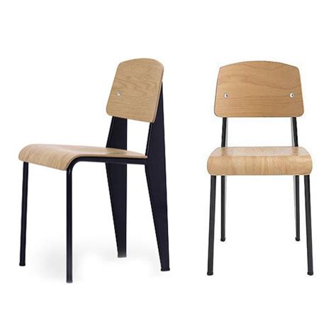 black frame w oak jean prouv 233 standard chair