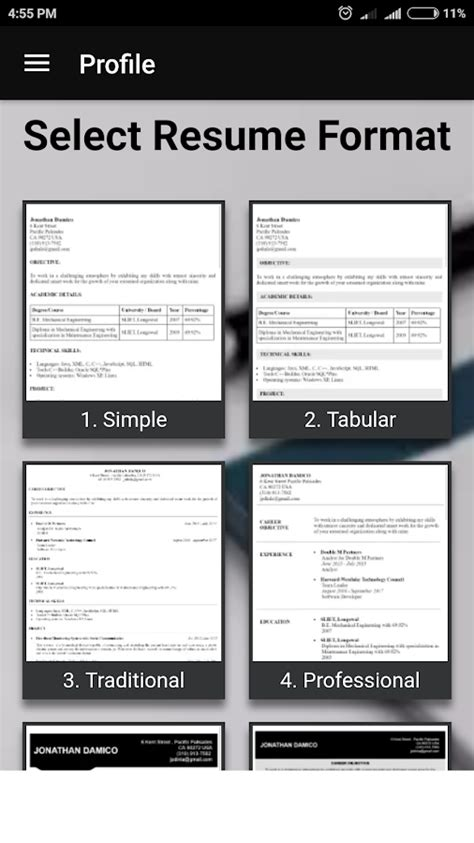 free resume builder pdf formats cv maker templates android apps play