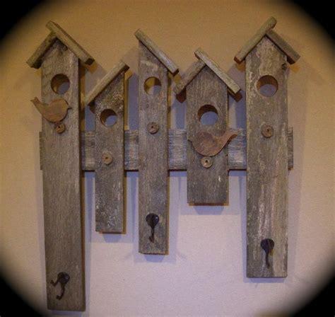 rustic coat hat rack reclaimed wood bird house design