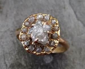 raw diamond halo engagement ring rough 18k rose gold wedding With raw diamond wedding ring