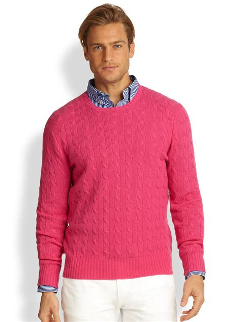 ralph polo sweaters polo ralph cableknit sweater in pink for