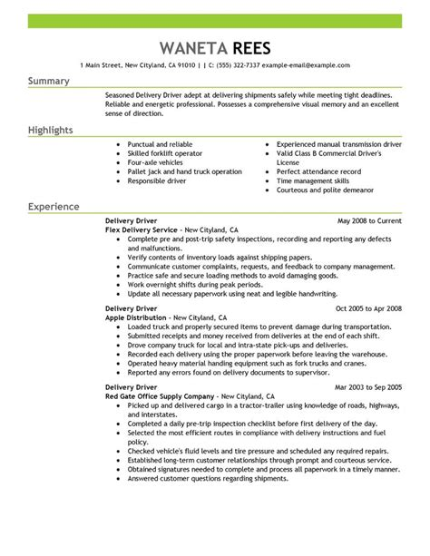 delivery driver resume exles transportation resume