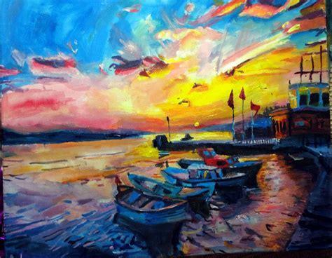 Sunset Painting Boat Print Colourful Sunset Acrylic