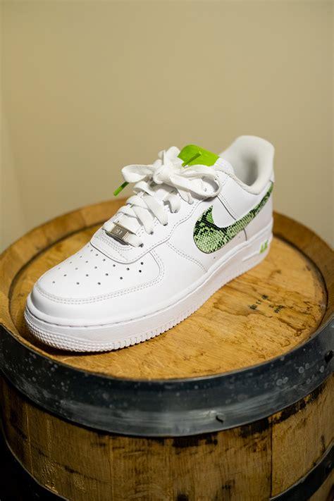 nike air force  white custom lime green snakeskin edition