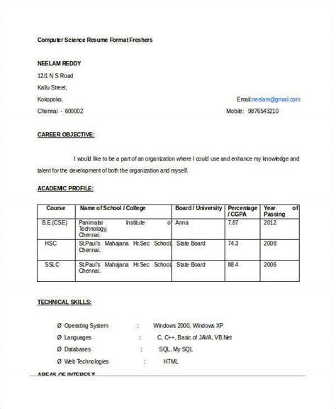 fresher engineer resume templates