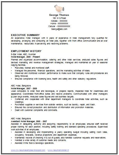sample template   excellent restaurant manager resume