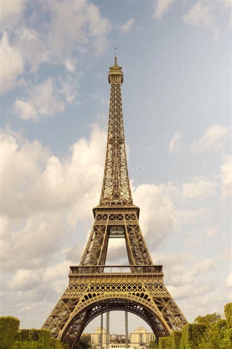 clouds  eiffel tower  paris stock image image
