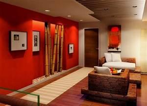 Deko Wohnzimmer Wand : wohnzimmer gestalten rote wand mit bambus freshouse ~ Lizthompson.info Haus und Dekorationen
