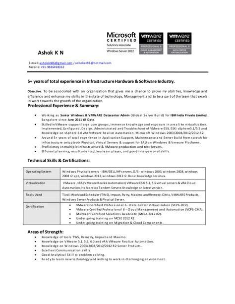 resume ashok kn senior windows vmware datacenter admin ibm 5 yrs