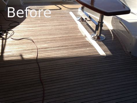 Boat Deck Refinishing by Sanding Wood Deck Repair Images