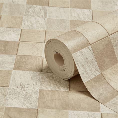 kitchen tiled wallpaper graham brown contour beige tile kitchen 3306