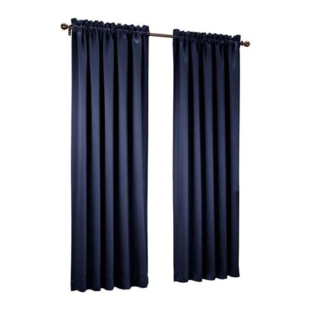 sun zero navy gregory room darkening pole top curtain