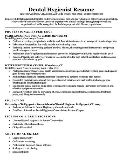 dental hygienist resume sle writing tips resume