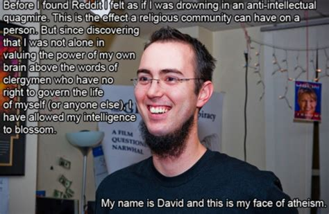 Smug Atheist Meme - my name is david and this is my face of atheism neckbeard know your meme