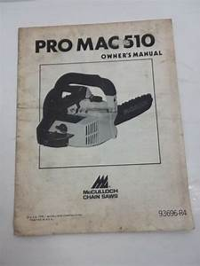 Mcculloch Model Pro Mac Model   800 Chain Saw Parts Manual