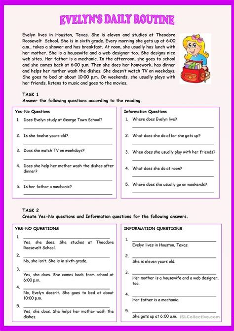 evelyns daily routine worksheet  esl printable