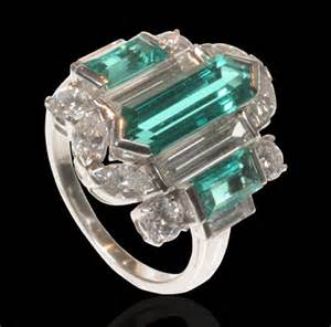 Marquise Cut Emerald and Diamond Cocktail Ring