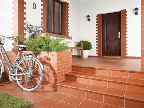 building exterior stairs with bricks and modern tiles
