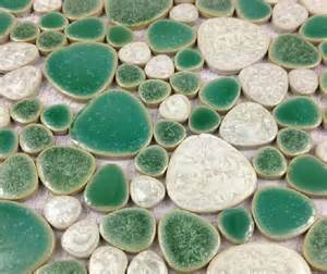 discount kitchen backsplash tile glazed porcelain wall tiles pebble mosaic ppmt059 green