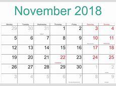 Get November 2018 Calendar A4 Printable Template Public