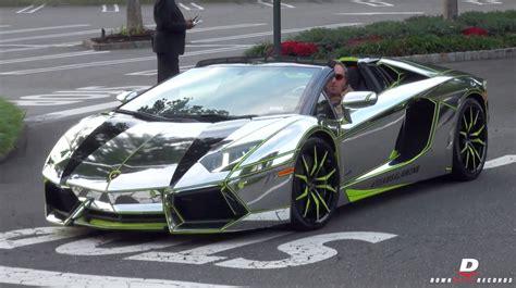 Chrome Lamborghini Aventador Roadster - Start Up // Sound ...