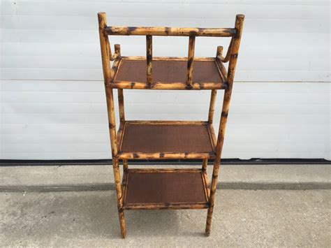Three-tiered Scorched Bamboo Etagere With Espresso Rattan